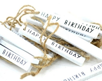 Wooden Tags White Set of 20 Happy Birthday Tags