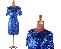 Vintage 1980's Lillie Rubin Sapphire Blue Metallic Sequin Evening Mini Cocktail Party Prom Dress S