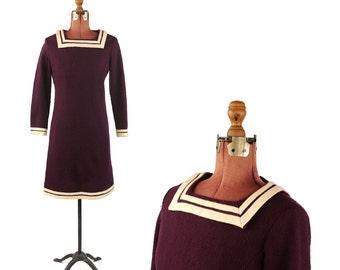 Vintage 1960's Dark Plum Purple Sailor Collar Mod Mini Soft Knit Retro Nautical Shift Dress S