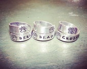 ON SALE Pet Memorial - Paw Print Wrap Around Ring - Custom Stamped With Your Pets Name - Silver Paw Print Ring - Silver Pet Ring