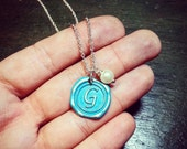 Turquoise Initial on Silver Necklace with Pearl - Choose Turquoise, Moss Green, or Emerald Green - Bridesmaids, Mothers Gift Idea