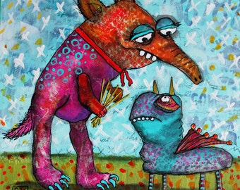 I Picked These for You - PRINT 10 x 10 from Original Artwork - Collage Creatures by DK Magliacano