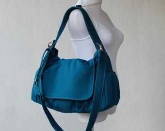 Halloween SALE - 30% Pico in Dark Teal (Water Resistant) Messenger Bag / Tote / Laptop Bag/ Handbag/Diaper Bag/ School Bag/ Women /For Her/