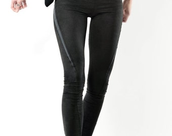 Summer Sale SLU twisted faux suede leather leggings / Tights skinny pants / Black with grey inserts /extra long