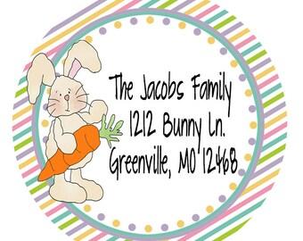 24 STICKERS, Easter Address Sticker, Bunny Sticker, Return Address Stickers Easter, Personalized Easter Sticker, Easter Basket Sticker (608)