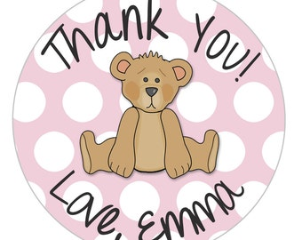 Pink Teddy Bear Thank You Sticker, Pink Polka Dot, Thank You Sticker, Goodie Bag Sticker, Envelope Seal Pink, 24 STICKERS (439)