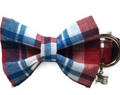 Patriotic Plaid Bow Tie Dog Collar size Small