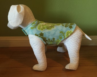 Fleece Dog Coat, Extra Small or Small, Aqua Blue, Lime Green, Ivory, and Green, Botanical Print with Aqua Blue Fleece Lining