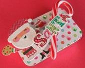 Christmas Gift Card Holder/ Keepsake Mini Altered Tin/Peppermint Santa