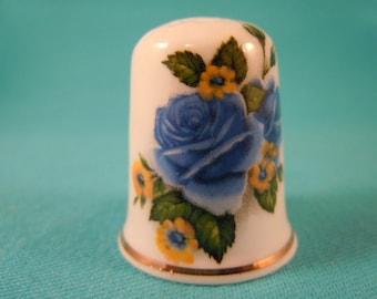 Thimble Bone China with Blue Rose