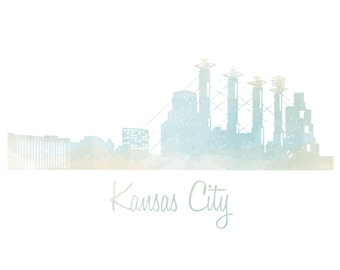 Kansas City Skyline Watercolor Art Print - Color & BW