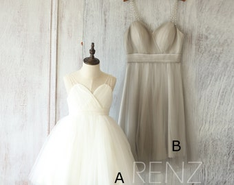 2017 Mix and Match Bridesmaid Dress, Short White Flower Girl Dress, Baby Puffy Dress Tutu, Beading Strap Tulle Cocktail Dress (FK315/FS250)