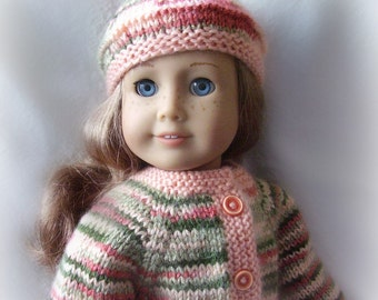18 Inch Doll Clothes - Hand Knit Doll Sweater and Beret in Peaches and Greens - Hand Knit - Made to Fit American Girl or Other 18 Inch Dolls