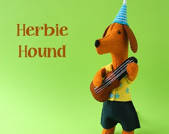 Herbie Hound and His Ukulele - felt softie pattern PDF