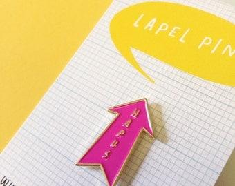 Lapel Pin Hapus Welsh Happy Arrow Hot Pink Gold Brooch Pin
