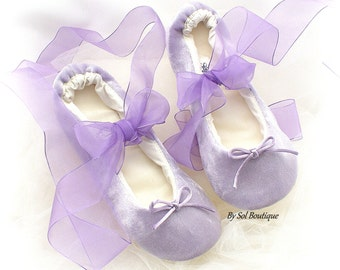 Ballet Flats,Girl Flats,Lilac,Purple,Velour Flats,Ballet Slippers,Flower Girl Flats,Confirmation Shoes,First Communion,Prom,Bat Mitzvah