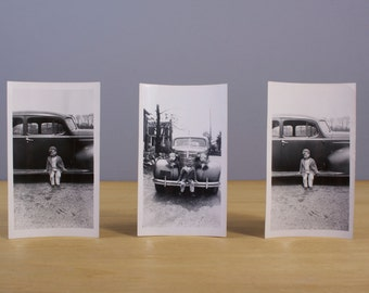 3 Vintage Photographs of a Boy on Car