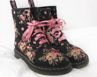 ON SALE Black Pink Floral Canvas Doc Marten Boots with Pink Ribbon Shoestrings