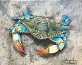 Crab on the Beach, Bayside, Seaside, Chesapeake Bay Blue, Maryland, Virginia, Female Crabby, Fine Art Print, 8x10, home décor, decorative