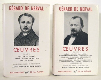 Gerard de Nerval Oeuvres, 2 Volumes Poems Memoirs, Stories, Letters, Travels Bibliotheque de la Pleiade Vintage Leatherette Books in French