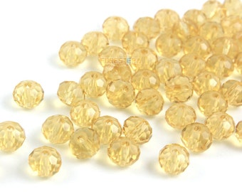 6mm Gold Faceted Bead Gold Faceted Glass Bead for Jewelry (BEAD-A15-6-09)