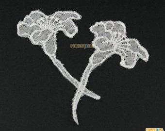 12 Pieces Flower Lace Applique White Cotton Embroidered Lace Patch 3.5x7cm (LACE408)