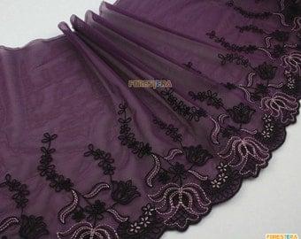Terylene Lace Trim Purple Tulle Lace Trim Floral Embroidery Lace Trim 21cm Width -- 2 Yards (LACE445)