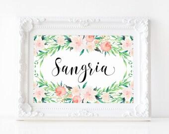 "Instant Download - Delicate Bouquet Sangria Sign 5""x7"" - Pink Floral Garden Theme Wedding, Bridal Shower, Baby Shower, Bachelorette"