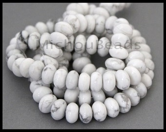 """15"""" Strand - White HOWLITE 10mm Rondelle Beads - 10x6mm Natural Genuine Howlite Gemstone - A/B Grade Smooth - Instant Shipping - USA - 6780"""