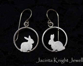 Sterling silver rabbit dangle earrings