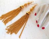 Vintage Pierced Tassel Earrings Gold Dangles 90's (item 218)