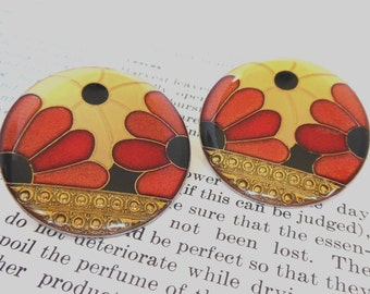 Vintage Pierced Earrings Cloisonne Flowers Red Cream 80's (item 25)