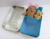 Custom Wee Mouse Tin House - felt mouse in Altoids tin - You Choose Colors! - travel toy - pocket toy - purse toy - made to order