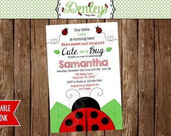 Red Ladybug Invitation (LB03)
