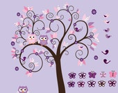 Girls Nursery Owl Wall Decal, Purples Nursery Tree, Birds Owls patterns swirls