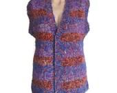 Vintage Vest, Hand-knitted Vest, Wool Vest, Purple with Burgundy STRIPED Vest, Grandmother Vest,Large Vest,Ethnic Vest,Waistcoat,Unisex Vest