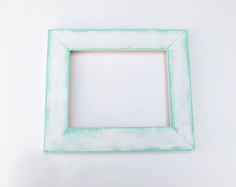 Distressed white frame - 8x10 white and aqua, wide picture frame, rustic, textured, layered, shabby-chic