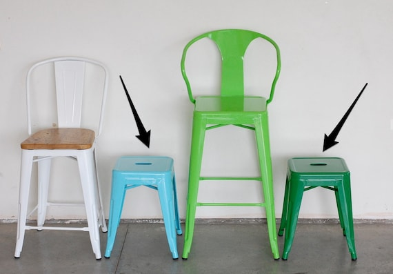 """Custom Painted Tolix Style Mini Stool in the Color of your Choice 17.5"""" or 18"""" Height"""
