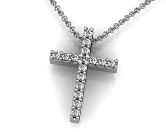 Diamond 14k Gold Cross Pendant Necklace accented by 16 small round diamonds 0.16ct | made to order for you within 5-7 business days