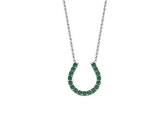 Sapphire Emerald Ruby Lucky Horseshoe Necklace in 14k White Gold | made to order for you within 5-7 business days