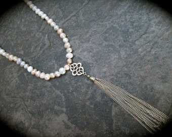 "Extra Long Pearl Necklace with Silver Tassel Pendant and Magnetic Clasp Elegant Pastel Baroque Pearls  34"" necklace"