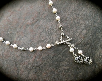 """Freshwater Pearl Rosary style Lariat necklace with heart dangles 19"""" Wedding Jewelry"""