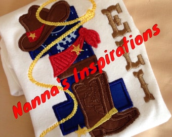 Custom  1st Birthday Western Boys  shirt Boots Hat