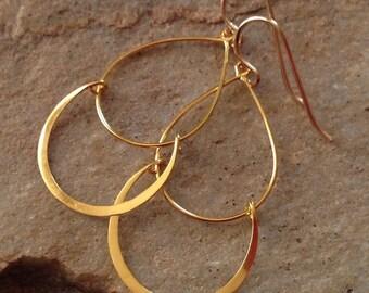 Double Hoop Gold Earrings -Gold Hoop Drop Earrings -Gold Hoops