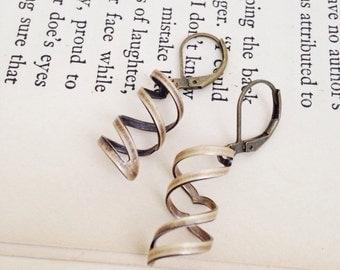 Brass Twist Vintage Style Earrings