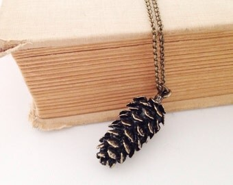 Brass Pinecone Necklace.  Long Pinecone Necklace