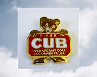 Piper Cub Logo Lapel Pin, Vintage J-3 Cub Logo, Piper Aircraft Corp. Lockhaven, PA, Goldtone Metal, Colored Enamel