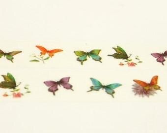 Japanese Washi Masking Tape - Colorful Butterflies - 7.6 yards