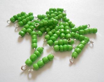 Green Seed 4Bead Glass Dangle Beads