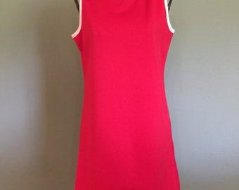 1970's Red Mod minidress, size small/medium
